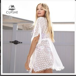Cupshe lace Pom Pom cover up